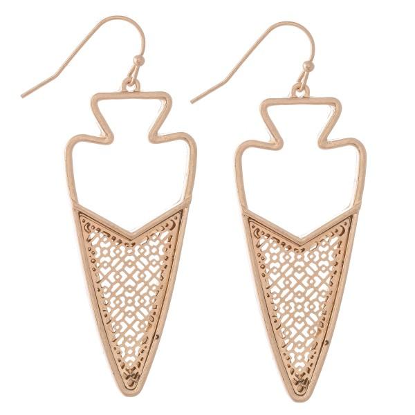 """Metal Encased Filigree Arrow Drop Earrings.  - Approximately 2.5"""" L"""