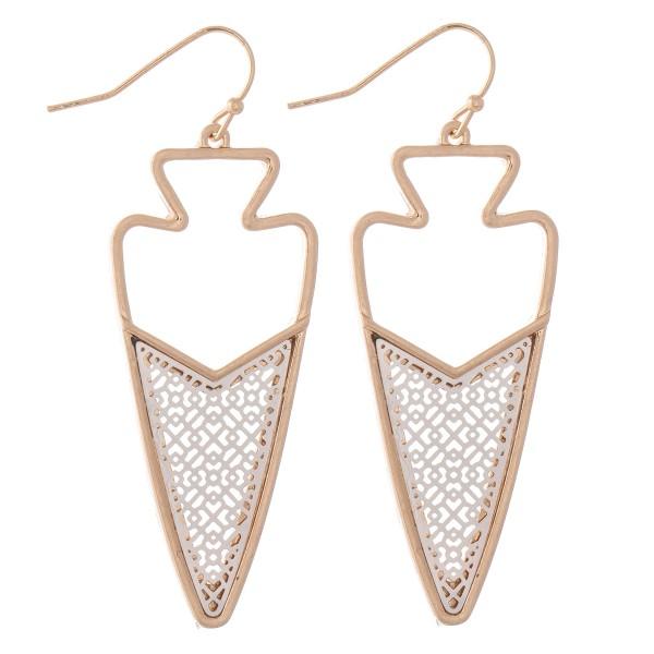 """Two Tone Metal Encased Filigree Arrow Drop Earrings.  - Approximately 2.5"""" L"""