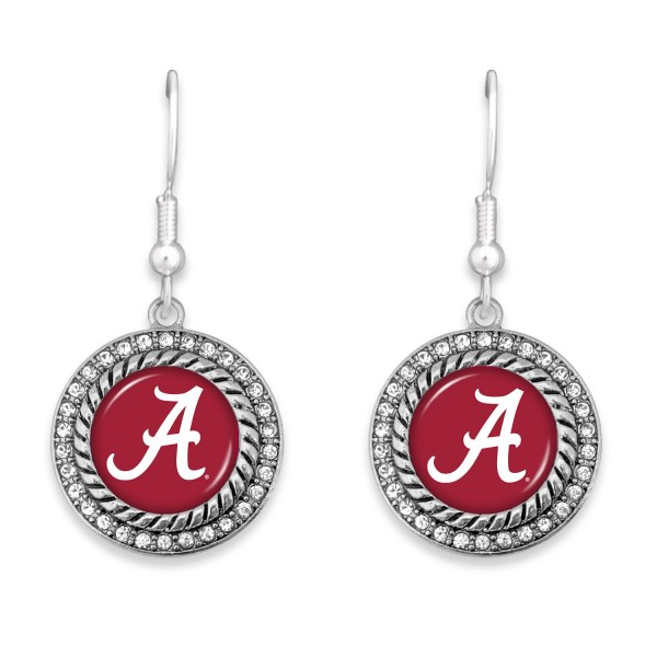 """Alabama Game Day Drop Earrings Featuring Rhinestone Accents.  - Approximately 1.5"""" L  - Approximately 1"""" in Diameter"""