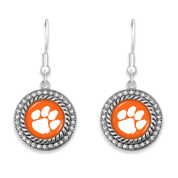 """Clemson Game Day Drop Earrings Featuring Rhinestone Accents.  - Approximately 1.5"""" L  - Approximately 1"""" in Diameter"""