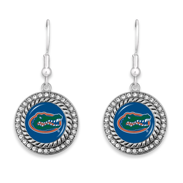 """Florida Gator Game Day Drop Earrings Featuring Rhinestone Accents.  - Approximately 1.5"""" L  - Approximately 1"""" in Diameter"""