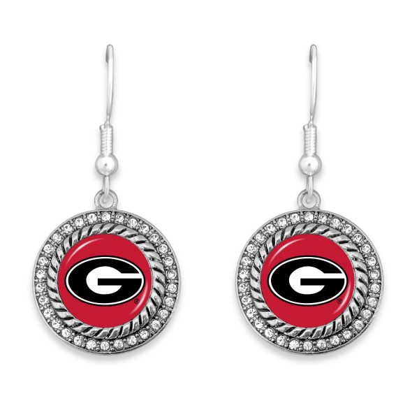 """Georgia Game Day Drop Earrings Featuring Rhinestone Accents.  - Approximately 1.5"""" L  - Approximately 1"""" in Diameter"""