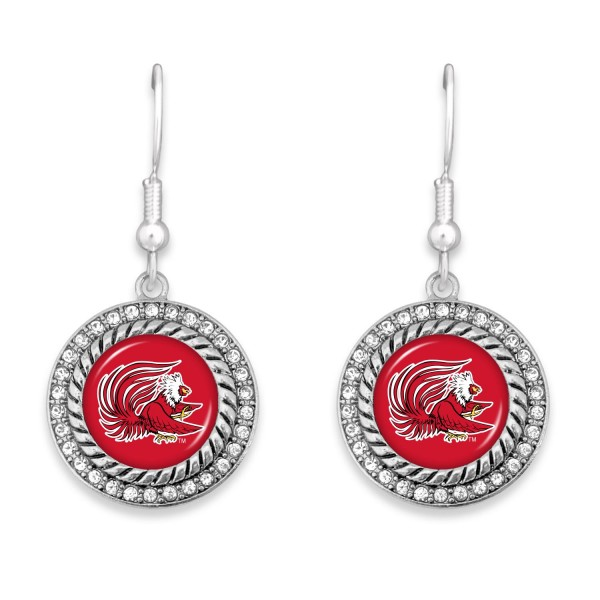 """Jacksonville State University Game Day Drop Earrings Featuring Rhinestone Accents.  - Approximately 1.5"""" L  - Approximately 1"""" in Diameter"""