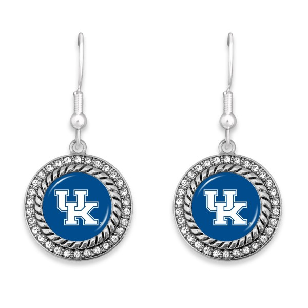 """Kentucky Game Day Drop Earrings Featuring Rhinestone Accents.  - Approximately 1.5"""" L  - Approximately 1"""" in Diameter"""