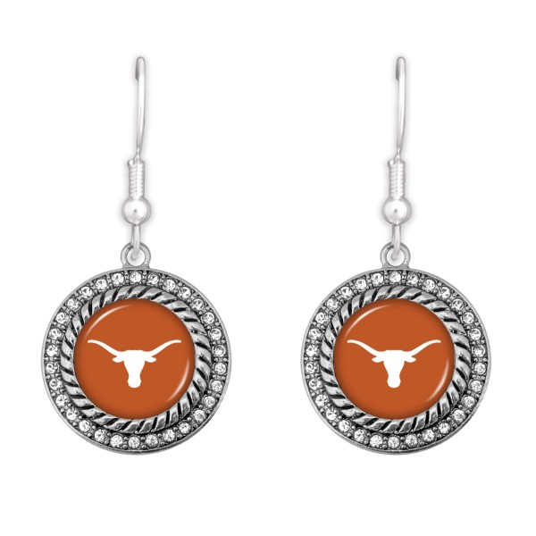 """Texas Longhorn Game Day Drop Earrings Featuring Rhinestone Accents.  - Approximately 1.5"""" L  - Approximately 1"""" in Diameter"""