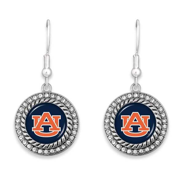 """Auburn Game Day Drop Earrings Featuring Rhinestone Accents.  - Approximately 1.5"""" L  - Approximately 1"""" in Diameter"""