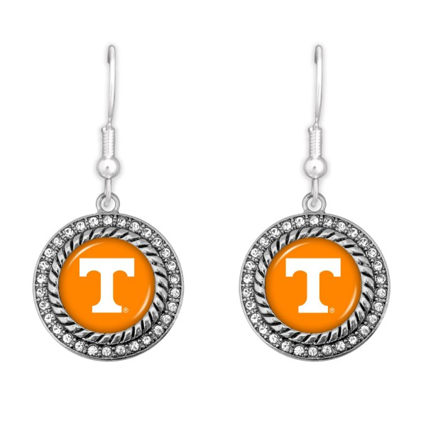 "Tennessee Game Day Drop Earrings Featuring Rhinestone Accents.  - Approximately 1.5"" L  - Approximately 1"" in Diameter"