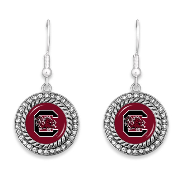 "University of South Carolina Game Day Drop Earrings Featuring Rhinestone Accents.  - Approximately 1.5"" L  - Approximately 1"" in Diameter"