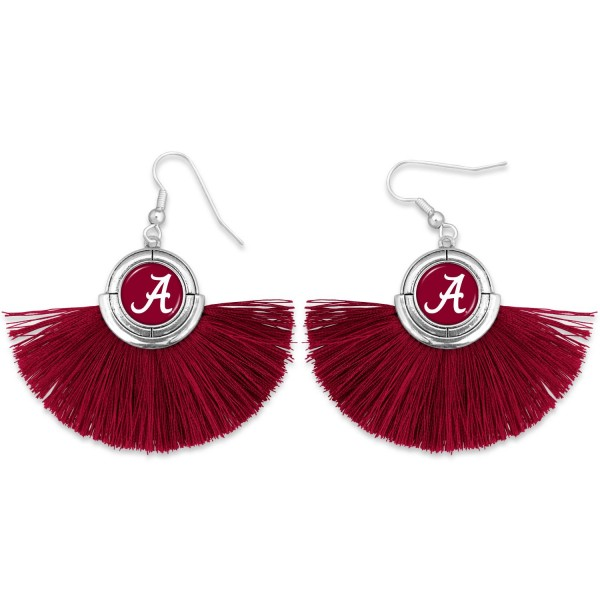 "Alabama Game Day Tassel Drop Earrings.  - Approximately 2"" L x 3"" W"