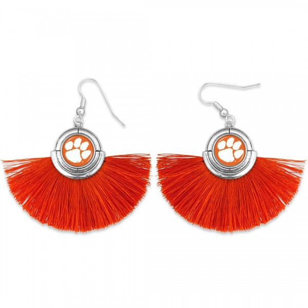 "Clemson Game Day Tassel Drop Earrings.  - Approximately 2"" L x 3"" W"