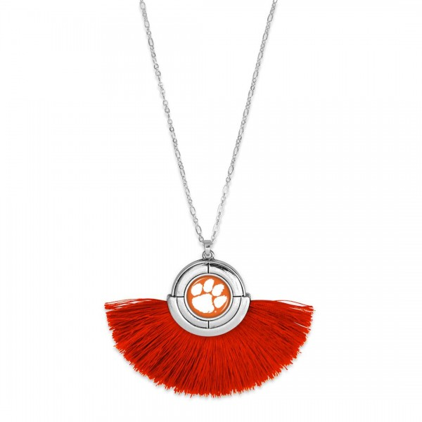 "Clemson Game Day Tassel Pendant Necklace.  - Pendant (approx) 2"" L x 3"" T - Approximately 34"" L - 3"" Adjustable Extender"