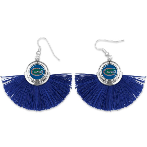 "Florida Gator Game Day Tassel Drop Earrings.  - Approximately 2"" L x 3"" W"