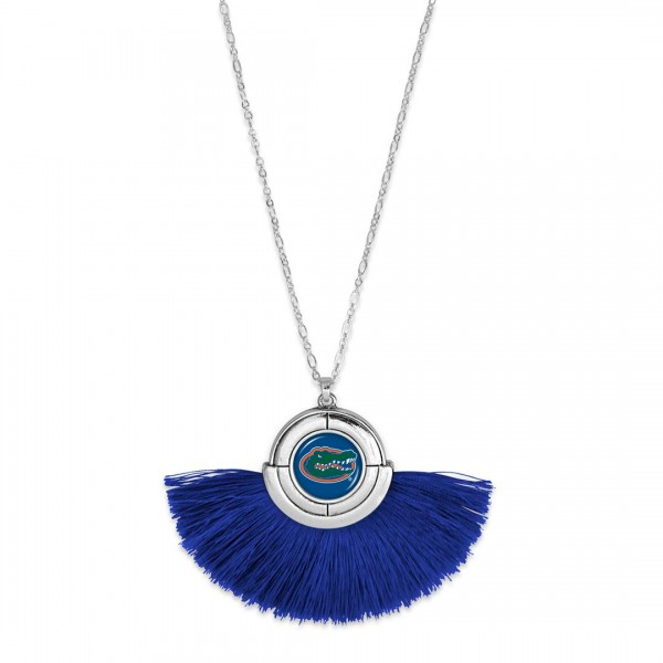 "Florida Gator Game Day Tassel Pendant Necklace.  - Pendant (approx) 2"" L x 3"" T - Approximately 34"" L - 3"" Adjustable Extender"