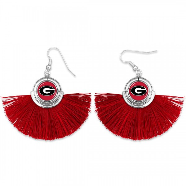"Georgia Game Day Tassel Drop Earrings.  - Approximately 2"" L x 3"" W"
