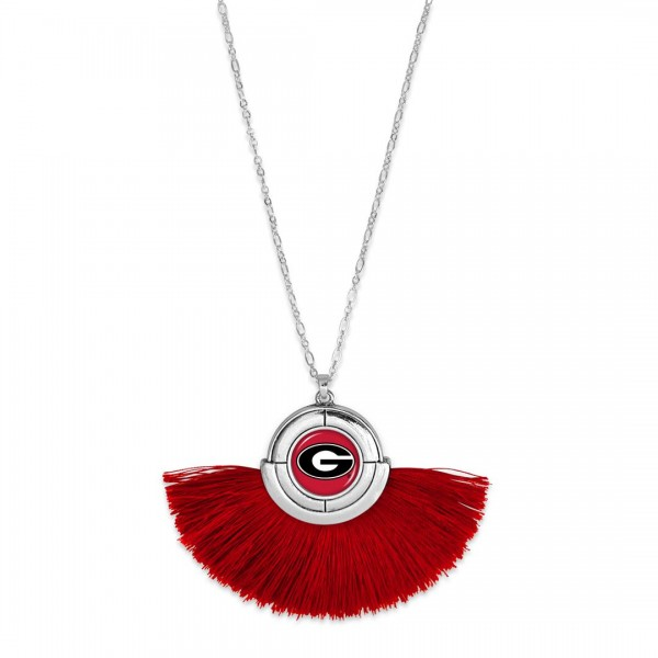 "Georgia Game Day Tassel Pendant Necklace.  - Pendant (approx) 2"" L x 3"" T - Approximately 34"" L - 3"" Adjustable Extender"