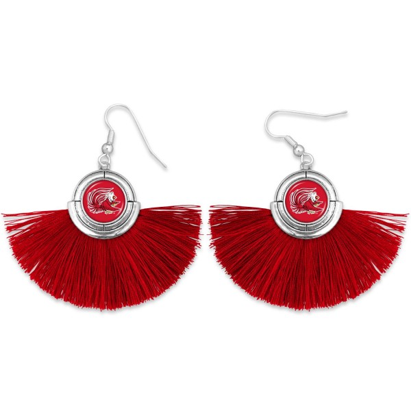 "Jacksonville State University Game Day Tassel Drop Earrings.  - Approximately 2"" L x 3"" W"