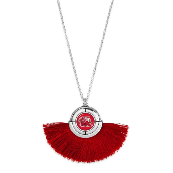 "Jacksonville State University Game Day Tassel Pendant Necklace.  - Pendant (approx) 2"" L x 3"" T - Approximately 34"" L - 3"" Adjustable Extender"