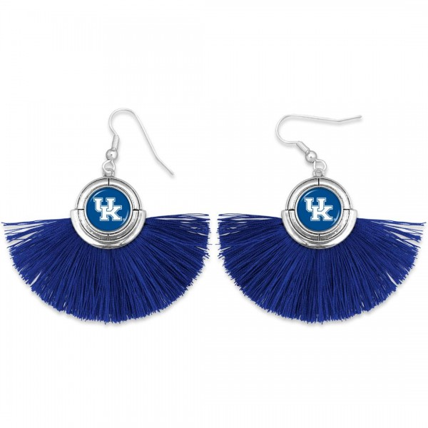 "Kentucky Game Day Tassel Drop Earrings.  - Approximately 2"" L x 3"" W"