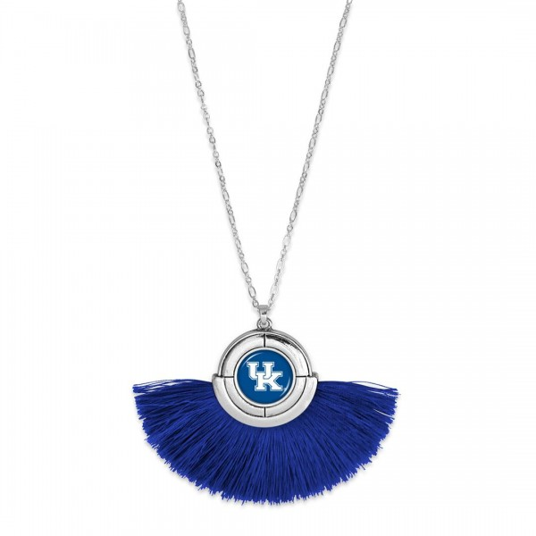 "Kentucky Game Day Tassel Pendant Necklace.  - Pendant (approx) 2"" L x 3"" T - Approximately 34"" L - 3"" Adjustable Extender"