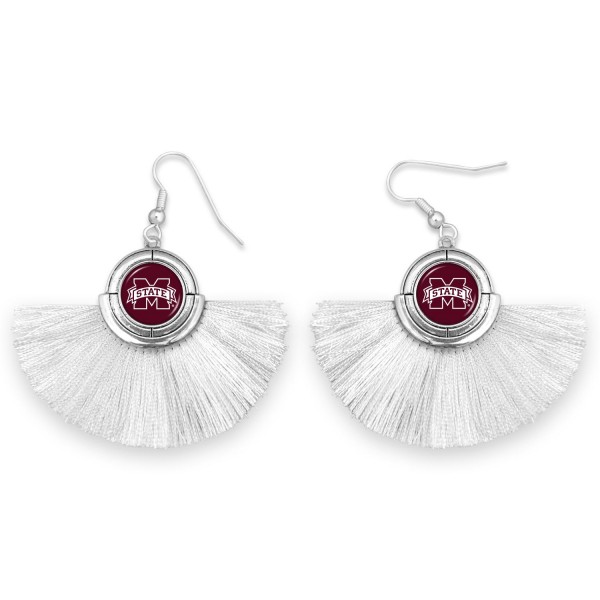 "Mississippi State Game Day Tassel Drop Earrings.  - Approximately 2"" L x 3"" W"