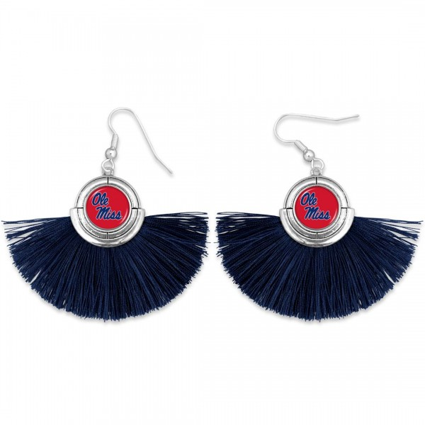 "Ole Miss Game Day Tassel Drop Earrings.  - Approximately 2"" L x 3"" W"