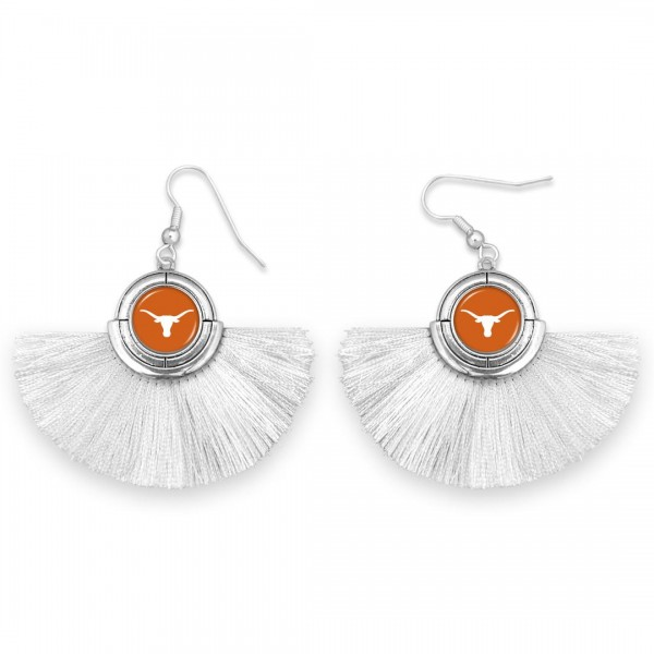 "Texas Longhorn Game Day Tassel Drop Earrings.  - Approximately 2"" L x 3"" W"