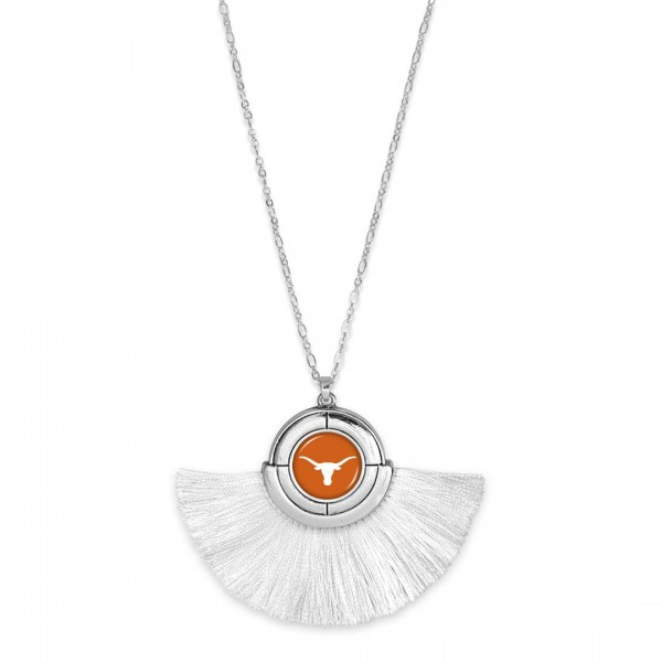 "Texas Longhorn Game Day Tassel Pendant Necklace.  - Pendant (approx) 2"" L x 3"" T - Approximately 34"" L - 3"" Adjustable Extender"