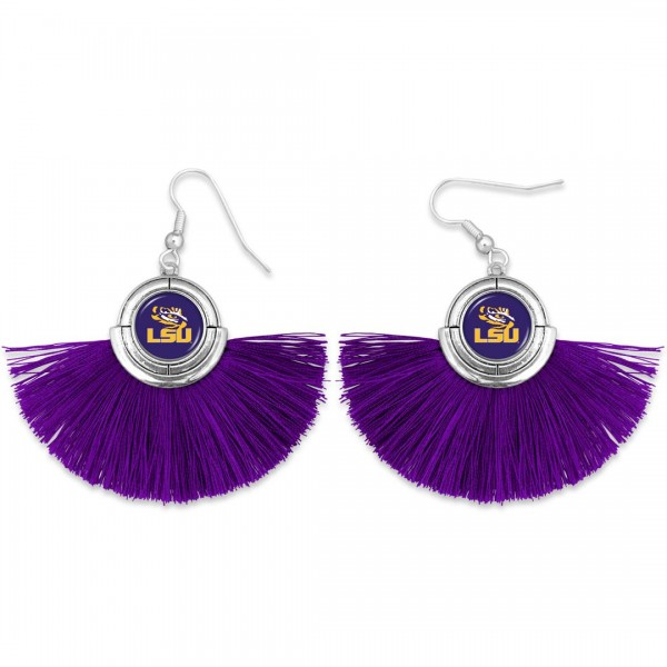"LSU Game Day Tassel Drop Earrings.  - Approximately 2"" L x 3"" W"