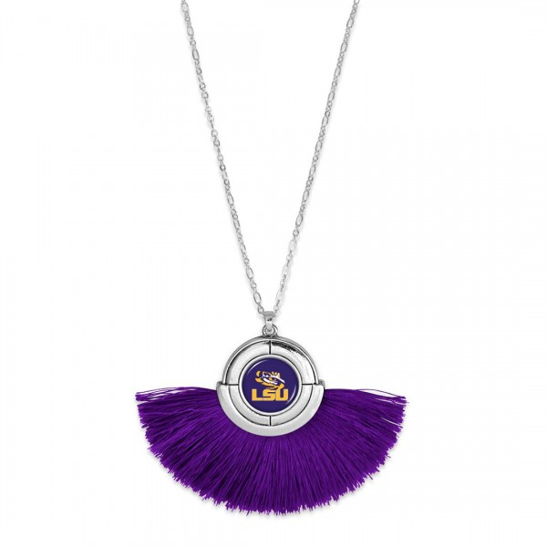 "LSU Game Day Tassel Pendant Necklace.  - Pendant (approx) 2"" L x 3"" T - Approximately 34"" L - 3"" Adjustable Extender"