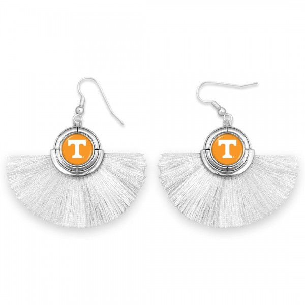 "Tennessee Game Day Tassel Drop Earrings.  - Approximately 2"" L x 3"" W"