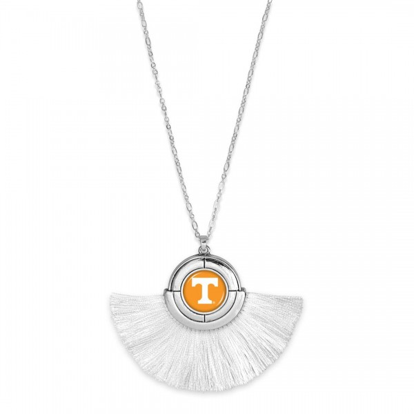 "Tennessee Game Day Tassel Pendant Necklace.  - Pendant (approx) 2"" L x 3"" T - Approximately 34"" L - 3"" Adjustable Extender"
