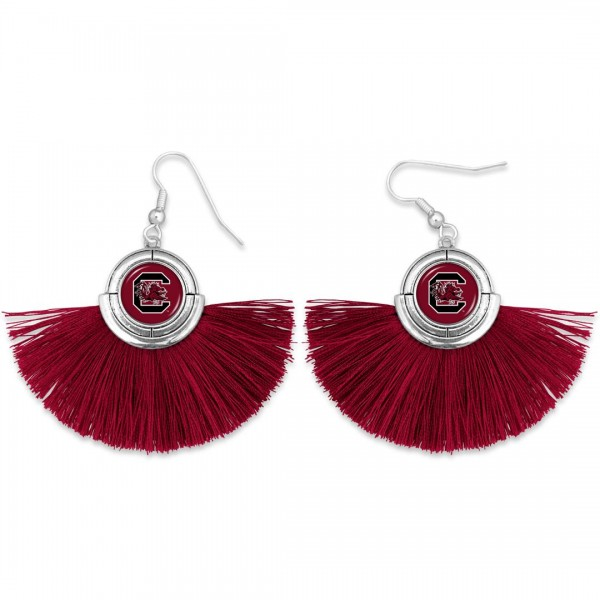 "University of South Carolina Game Day Tassel Drop Earrings.  - Approximately 2"" L x 3"" W"