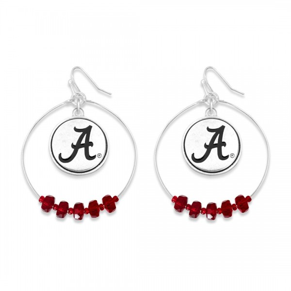 "Alabama Nested Beaded Game Day Drop Earring.  - Approximately 2"" L  - Approximately 1.75"" in Diameter"