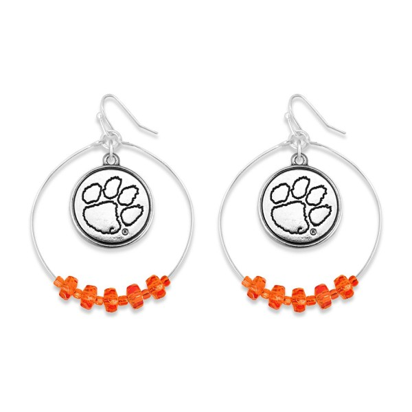 "Clemson Nested Beaded Game Day Drop Earring.  - Approximately 2"" L  - Approximately 1.75"" in Diameter"