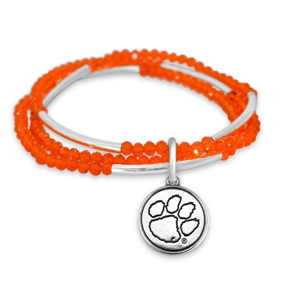 "Clemson Beaded Game Day Stretch Bracelet Set.  - Charm .75""  - Approximately 3"" in Diameter - Fits up to a 7"" Wrist"