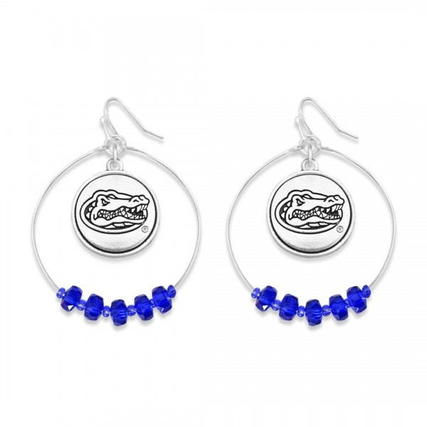 "Florida Gator Nested Beaded Game Day Drop Earring.  - Approximately 2"" L  - Approximately 1.75"" in Diameter"