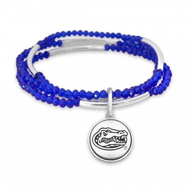 "Florida Gator Beaded Game Day Stretch Bracelet Set.  - Charm .75""  - Approximately 3"" in Diameter - Fits up to a 7"" Wrist"