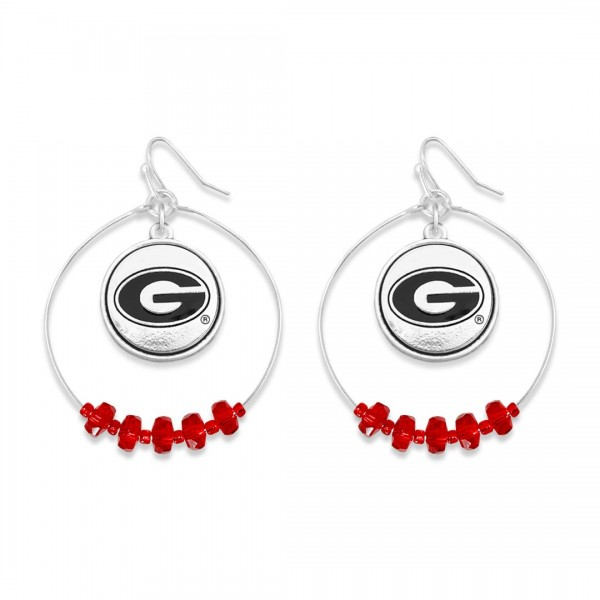 "Georgia Nested Beaded Game Day Drop Earring.  - Approximately 2"" L  - Approximately 1.75"" in Diameter"