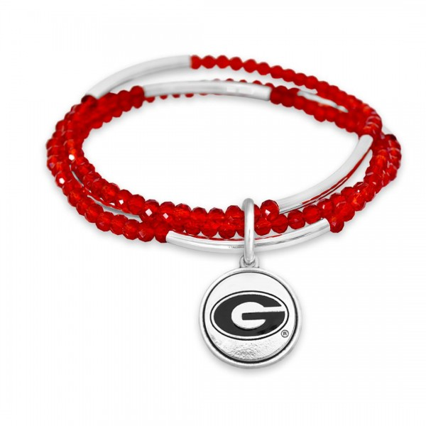 "Georgia Beaded Game Day Stretch Bracelet Set.  - Charm .75""  - Approximately 3"" in Diameter - Fits up to a 7"" Wrist"