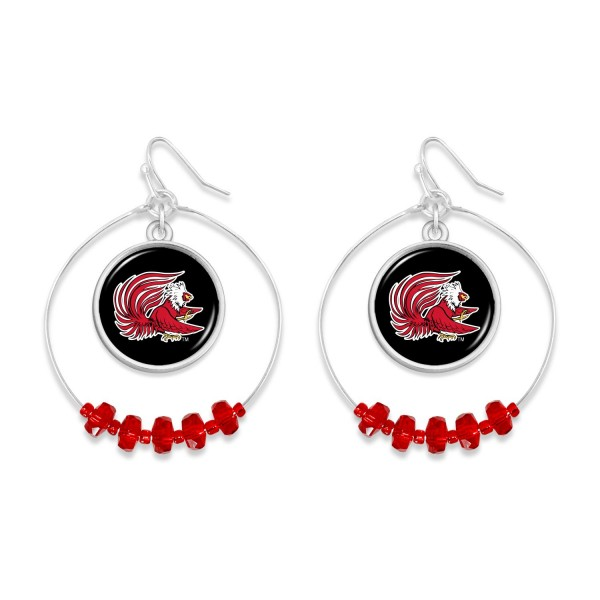 "Jacksonville State University Nested Beaded Game Day Drop Earring.  - Approximately 2"" L  - Approximately 1.75"" in Diameter"