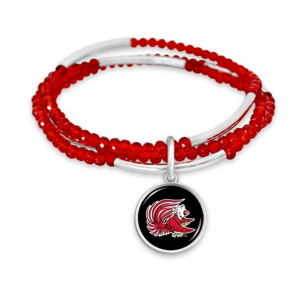 "Jacksonville State University Beaded Game Day Stretch Bracelet Set.  - Charm .75""  - Approximately 3"" in Diameter - Fits up to a 7"" Wrist"