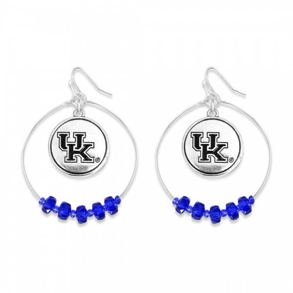 "Kentucky Nested Beaded Game Day Drop Earring.  - Approximately 2"" L  - Approximately 1.75"" in Diameter"