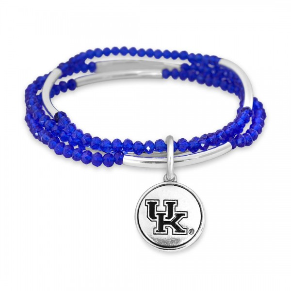 "Kentucky Beaded Game Day Stretch Bracelet Set.  - Charm .75""  - Approximately 3"" in Diameter - Fits up to a 7"" Wrist"