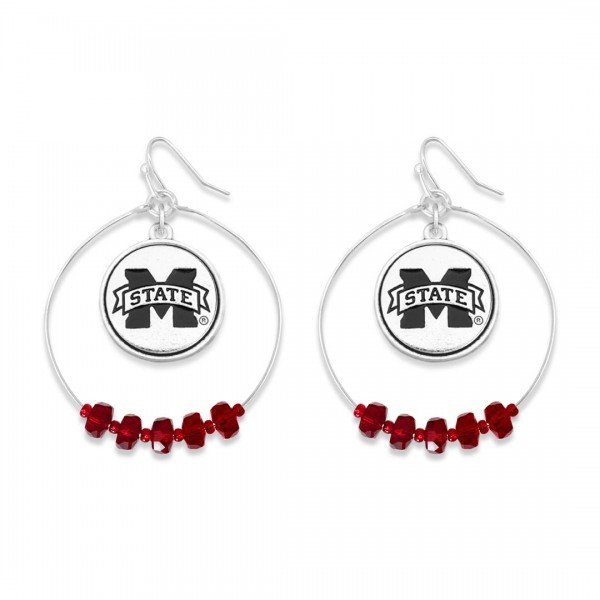 "Mississippi State Nested Beaded Game Day Drop Earring.  - Approximately 2"" L  - Approximately 1.75"" in Diameter"