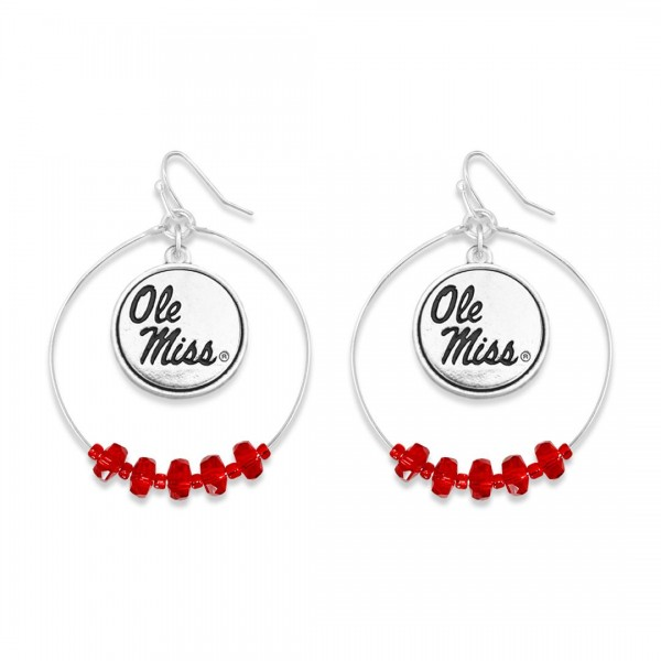 "Ole Miss Nested Beaded Game Day Drop Earring.  - Approximately 2"" L  - Approximately 1.75"" in Diameter"