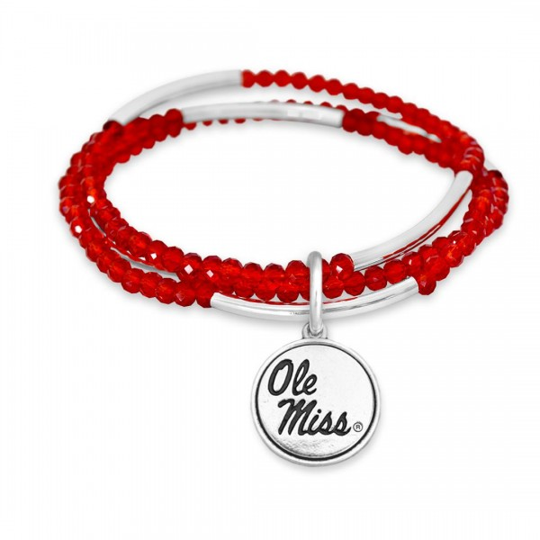 Wholesale ole Miss Beaded Game Day Stretch Bracelet Set Charm Diameter Fits up W