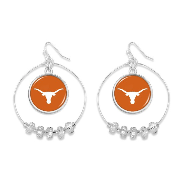 "Texas Longhorn Nested Beaded Game Day Drop Earring.  - Approximately 2"" L  - Approximately 1.75"" in Diameter"