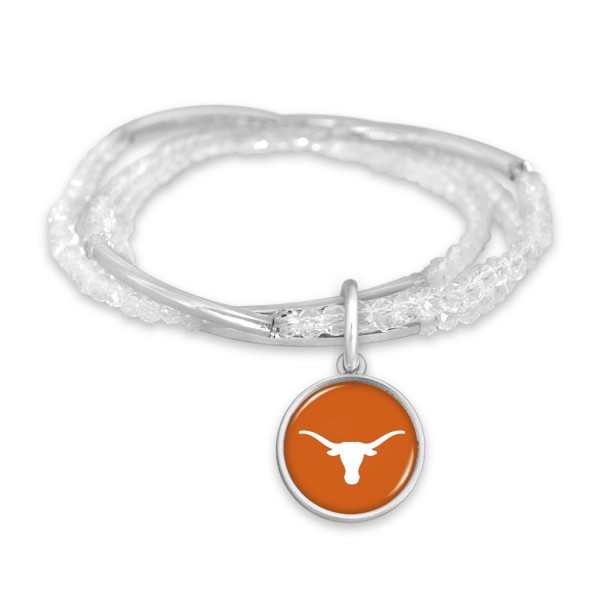 "Texas Longhorn Beaded Game Day Stretch Bracelet Set.  - Charm .75""  - Approximately 3"" in Diameter - Fits up to a 7"" Wrist"