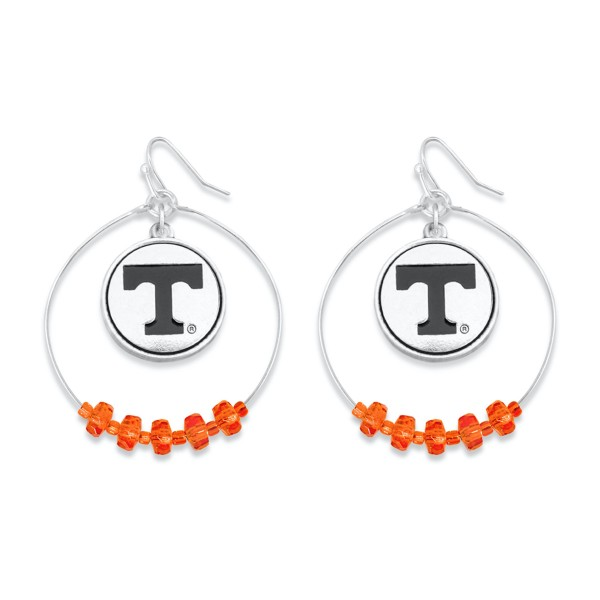 "Tennessee Nested Beaded Game Day Drop Earring.  - Approximately 2"" L  - Approximately 1.75"" in Diameter"