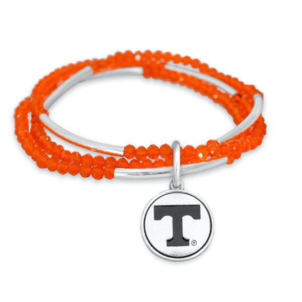 "Tennessee Beaded Game Day Stretch Bracelet Set.  - Charm .75""  - Approximately 3"" in Diameter - Fits up to a 7"" Wrist"